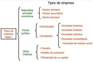 Tipos de empresas, de acuerdo al giro o la actividad